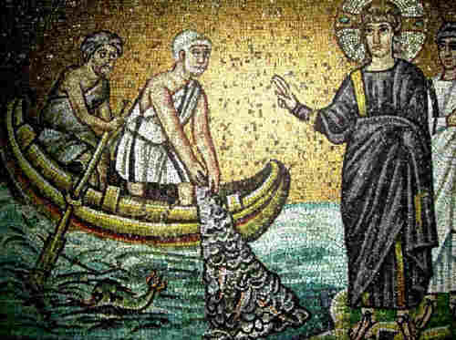 Господ Иисус Христос призовава св.ап. Симон (Петър) и Андрей Първозвани. Мозайка от VI в. от Равена