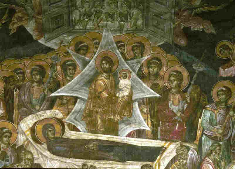 Успение Богородично. Стенопис от манастира Грачаница. Детайл