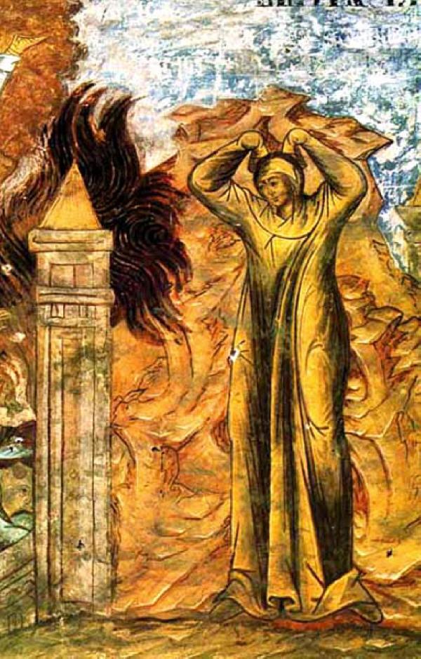 Наказанието на жената на Лот. Фреска от 1662 г. от Троицкий собор в Свято-Троицката Сергиева лавра.  Lot's Wife. Наказание жены Лота