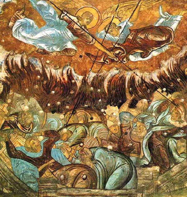 Гибелта на Содом и Гомор. Фреска от 1662 г. от Троицкий собор