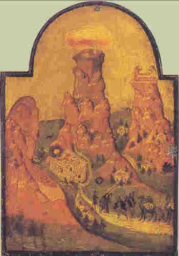 Синайската планина, икона от 17 в. от остров Крит.