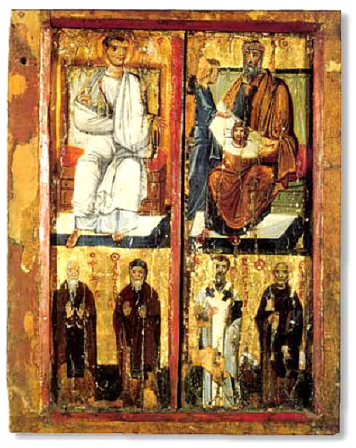 Apostle Thaddeus and rex Abgar. Icon. St. Catherine monastery (Sinai)