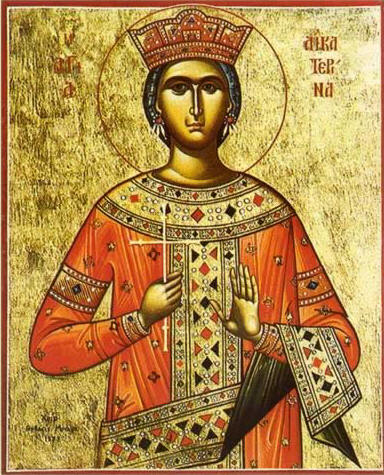 """Св. великомъченица Екатерина. Икона от манастира """"Св. Екатерина"""" в Синай. Източник: touregypt.net."""