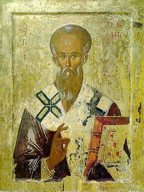 """Св. Климент Охридски, икона от 14-15 в. от църквата """"Богородица Перивлептос"""" (""""Св. Климент""""). Съхранява се в Галерията на икони в Охрид. Източник: soros.org."""
