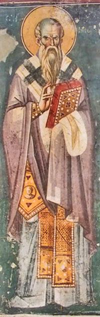 "Св. Климент Охридски, фреска от църквата ""Св. Богородица Перивлепта"" (""Св. Климент"") в Охрид, Реп. Македония"