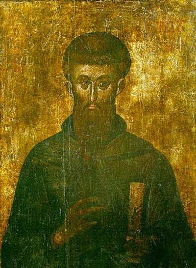 """Св. Наум Охридски, икона от 13-14 век от храма """"Богоридица Перивлептос"""" в Охрид. Източник: soros.org."""