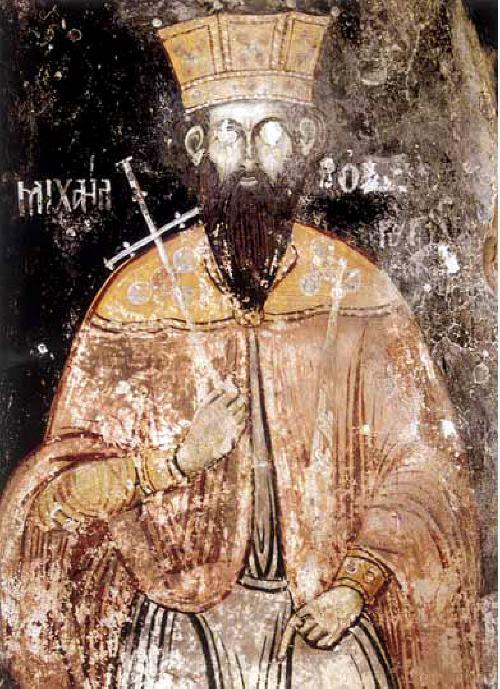 """Св. цар Борис-Михаил, стенопис в манастира """"Св. Архангели"""" (""""Св. Наум"""",  ІХ век) на Охридското езеро, чийто ктитор е княз Борис І. Прерисуван от зограф Търпо през 1806 година."""