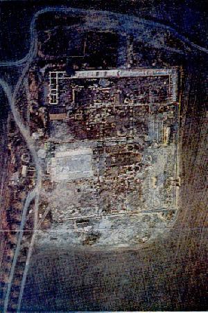 Общ изглед на Голямата базилика в Плиска, строена по времето на св. княз Борис-Михаил I, въздушна снимка