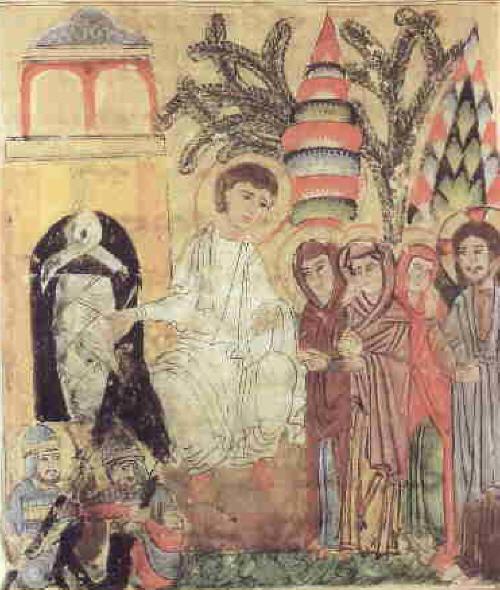 Възнесение Христово. Сирийска икона от 1219. Днес във Ватиканската библиотека.