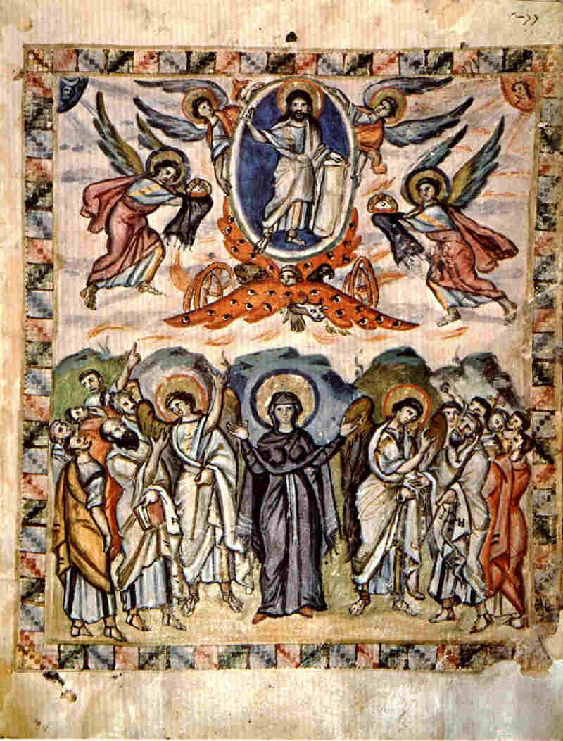 Едно от най-древните изображения на Възнесение Христово, в Сирийското евангелие на монаха Равула (Rabbula Gospels) - 6 в., Антиохийска църква.